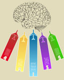 Human Brain with colorful Airplane Infographic banner Diagram for Business and Technology Concept. Vector Illustration EPS 10 Stock Image
