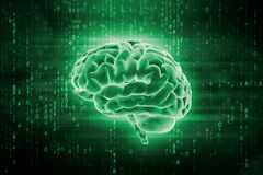 Human brain and computer code. Artificial intelligence or AI 3d rendering illustration