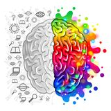 Human brain concept logic and creative vector. Photo-realistic illustration royalty free illustration