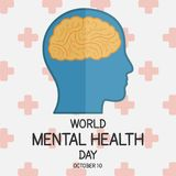World Mental Health Day, 10 October. Human brain conceptual illustration vector Stock Images