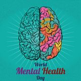 World Mental Health Day, 10 October. Human brain conceptual illustration vector Stock Photos