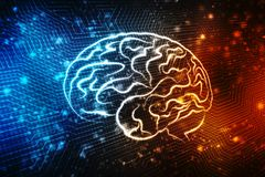 Digital illustration of Human brain structure, Creative brain concept background, innovation background, Medical Technology backgr. Human brain 2d illustration Stock Photo