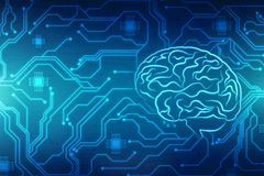 Human brain with circuit board background, Creative brain concept background, innovation background stock photography