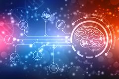 Digital illustration of Human brain structure, Creative brain concept background, innovation background. Human brain 2d illustration, Digital illustration of royalty free illustration