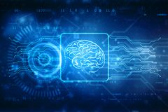 Digital illustration of Human brain structure, Creative brain concept background. Concept of thinking stock illustration