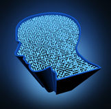 Human brain disease. And intelligence puzzle with a blue glowing maze and labyrinth in the shape of a human head as a symbol of the complexity of brain thinking Royalty Free Stock Photography