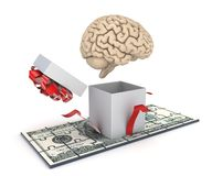 Human brain and dollar banknote Stock Photo