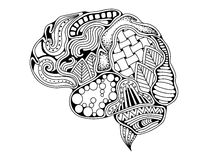 Human brain doodle decorative curves, creative mind. Learning and design. Adult anti stress coloring book page stock illustration