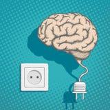 Human brain with an electrical plug and socket. Stock Photos