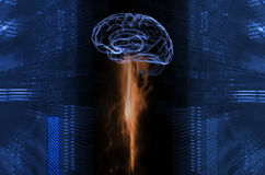 Human brain and energy. Human brain drawing energy from entity and motherboards, artificial intelligence Stock Photo