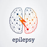 Human brain with epilepsy activity, vector illustration Royalty Free Stock Photography
