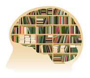 Human Brain Filled With Books Stock Images