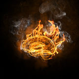 Human brain in fire. Flames against black background Stock Photo