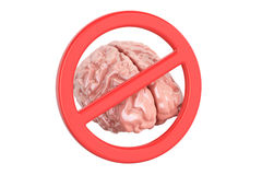 Human brain and forbidden sign, 3D Stock Images