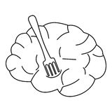 Human brain with fork icon, outline style Royalty Free Stock Photo