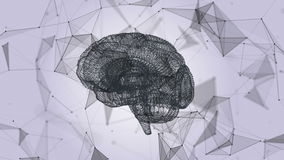 The human brain in the form of particles and plexus. Abstract geometric background with moving lines, dots and triangles royalty free illustration