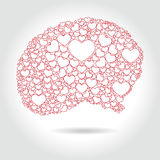 Human brain full hearts - love thinking,  Royalty Free Stock Images