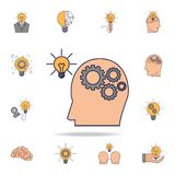 human brain with gears connected to light bulb fild color icon. Detailed set of color idea icons. Premium graphic design. One of stock illustration