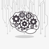 human brain with gears inside and circuit icon image Stock Photography