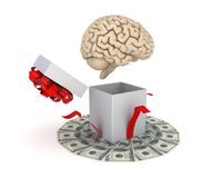 Human brain at a gift box Stock Photo