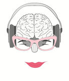 Human brain grooving music from headphones Royalty Free Stock Photos