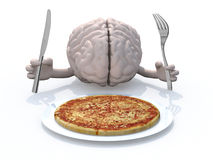 Human brain with hands, fork and knife in front of a pizza dish. 3d illustration Stock Images