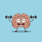 Human brain icon. Cartoon brain lifting weights icon over blue background. colorful design. illustration vector illustration
