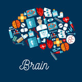 Human brain icon made up of healthcare symbols Royalty Free Stock Photo
