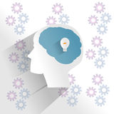 Human brain with idea thinking. In paper cut style Stock Images