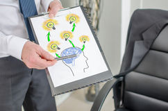 Human brain ideas concept on a clipboard Royalty Free Stock Photo