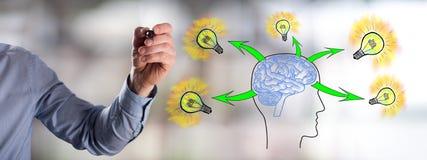 Human brain ideas concept drawn by a man. Man drawing a human brain ideas concept Stock Photography