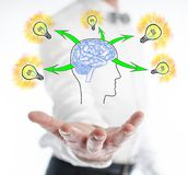 Human brain ideas concept levitating above a hand Royalty Free Stock Images