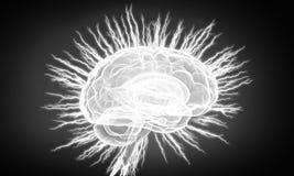 Human brain impulse  . Mixed media. Shiny brain in between thunder lightning on dark background Stock Images
