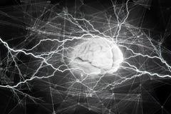 Human brain impulse  . Mixed media. Shiny brain in between thunder lightning on dark background Royalty Free Stock Photo