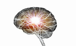 Human brain impulse. Shiny brain in between thunder lightning on white background Stock Image