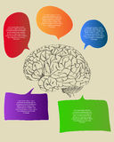 Human Brain with Infographic Diagram for Business and Technology Concept Vector Outline Sketched Up. Vector Illustration EPS 10 Royalty Free Stock Image