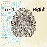 Human brain infographic with left and right hemisphere. Illustration of human brain showing left analytical part with different infographic elements Royalty Free Stock Images
