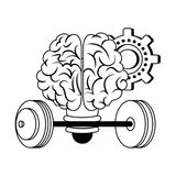Human brain intelligence and creativity cartoons in black and white. Brain bulb light shape with gear and weights vector illustration graphic design royalty free illustration