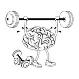 Human brain intelligence and creativity cartoons in black and white. Brain with lifting weight and dumbbells cartoons vector illustration graphic design stock illustration