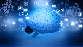 Human brain  with internet icons Stock Images