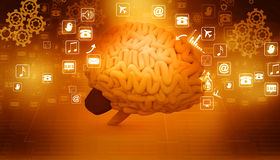 Human brain  with internet icons Royalty Free Stock Image