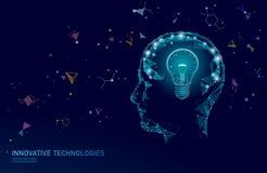 Human brain IQ smart business concept. E-learning nootropic drug supplement braingpower. Brainstorm creative idea royalty free illustration