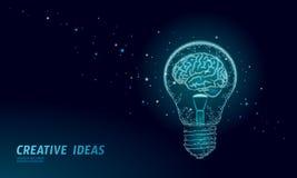 Human brain IQ smart business concept. E-learning nootropic drug supplement braingpower. Brainstorm creative idea stock illustration