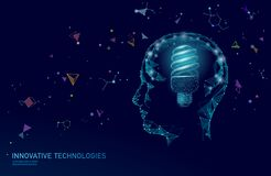 Human brain IQ smart business concept. Fluorescent lamp ecology idea brain power. Brainstorm creative idea project work. Low poly polygonal vector illustration royalty free illustration