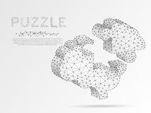 Human Brain Jigsaw Puzzle. Origami style low poly Science, artificial intellect, autism, Down Syndrome. Polygonal Vector. Human Brain Jigsaw Puzzle. Origami stock illustration