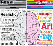 Human brain left and right, what you are Stock Images