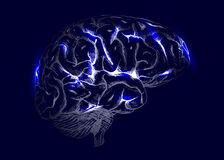 Human brain with light effects Royalty Free Stock Photo