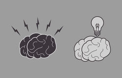 Human brain and lightbulb icon image Stock Images