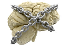 Human brain and lock (clipping path included) Royalty Free Stock Photography