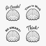 Human brain logo set. Vector brain thinking badges or smart brain stickers vector illustration